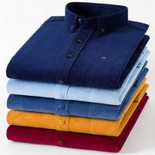 Mais tamanho 7xl corduroy100 % camisa de algodão dos homens casual manga longa regular ajuste camisas de vestido de negócios para o bolso confortável masculino
