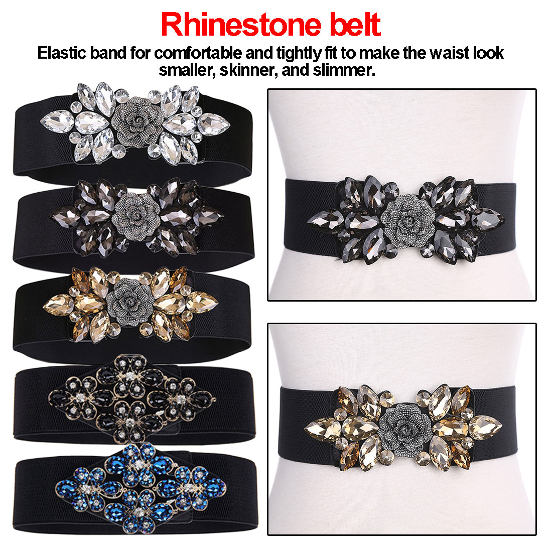 Luxury Brand Wide Floral Rhinestone Belt Buckles Stretchy Elastic Waist Belt Fashion Design Waistband For Ladies Women Belts