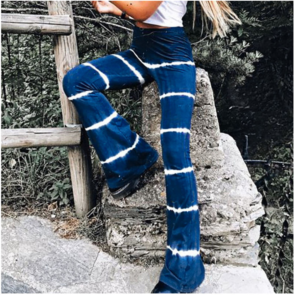 Focal20 Streetwear Women Tie Dye Striped Flare Pants Retro Casual Stretch High Waist Pants Fashion Spring Slim Skinny Trousers