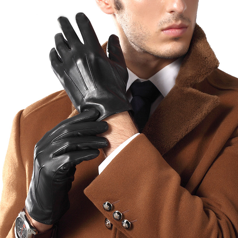 Genuien Leather Gloves Male Spring Autumn Thin Sheepskin Gloves Man Business Casual Leather Gloves TU3863-56