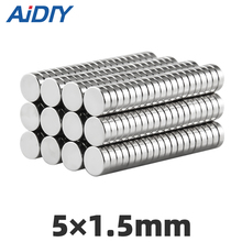 AI DIY 50Pcs 5 x 1.5mm N35 Neodymium Magnet Bulk Small Mini Super Strong Sheet Rare Earth Magnets Disc 5*1.5mm