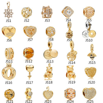 Anomokay Sterling 925 Silver Mix Style Gold Color Charms Pendant Bead fit Pandora Bracelet Best DIY Jewelry Making Gift