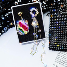 New Classic Crystal Pendant Earrings For Women Fashion Asymmetric Personality Long Tassel Elegant Jewelry
