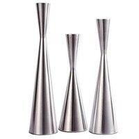Set of 3 Silver Brushed Metal Taper Candle Holders Candlestick Holders Vintage Modern Decorative Centerpiece Candlestick Holders