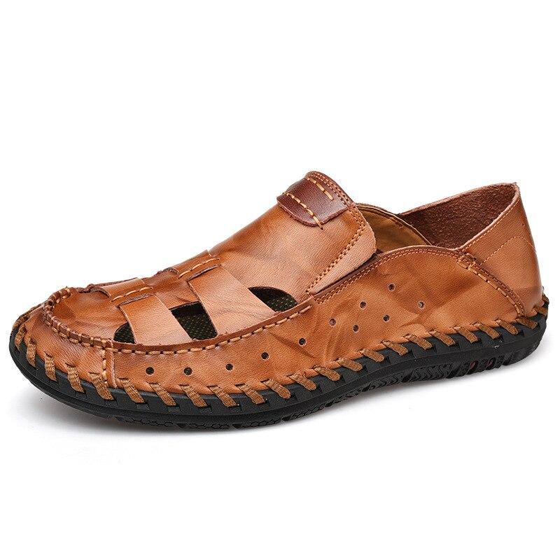 Printemps hommes sandales chaussures décontractées faites main respirant antidérapant évider chaussures de plage