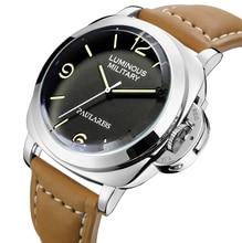 Мужские механические часы с автоподзаводом и ремешком из натуральной кожи желтого и зеленого цвета, 44 мм, Роскошные военные часы цвета розо...