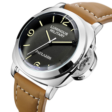 Men Automatic Self Wind Mechanical Genuine Brown Leather Strap Yellow Green Luminous 44mm Luxury Ros