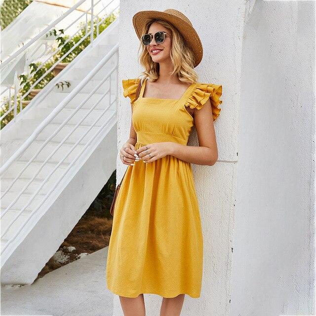 Sleeveless Dress Casual Mini Skirt Short Ruffled Sleeves 6