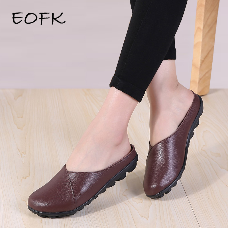 EOFK New Summer Women Genuine Leather Slippers High Quality Slingback Outside Ladies Soft Comfortable Flats Half Slippers Woman-in Slippers from Shoes    1
