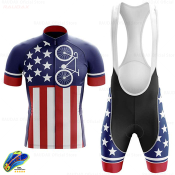 2020 USA Cycling Clothing Men #8217 s Cycling Jersey Set MTB Bicycle Clothing Bike Wear Clothes Maillot Ropa Ciclismo Triathlon Suit tanie i dobre opinie RAUDAX 100 poliester Lycra polyester Spandex Krótki rękaw Factory direct sales 80 poliester i 20 lycra ropa ciclismo hombre