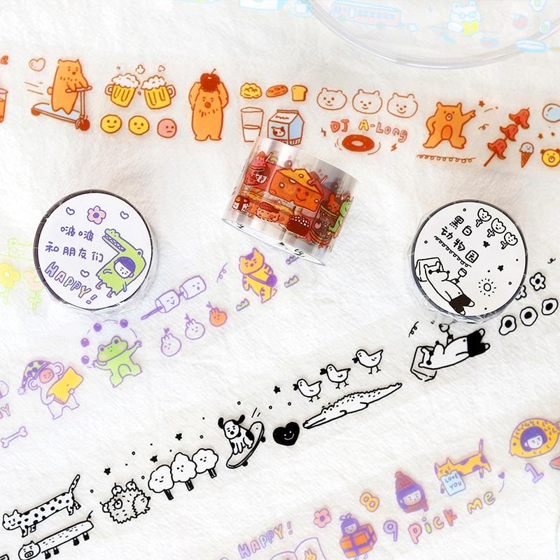 PET Transparent Washi Tape cartoon Cute animal Masking Tape Diy Scrapbooking Journal Paper Craft Sta