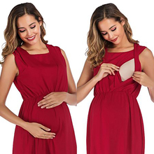 Summer Maternity Breastfeeding Dresses Pregnant Womens Sleeveless Fold Dress Comfy Nursing Cotton