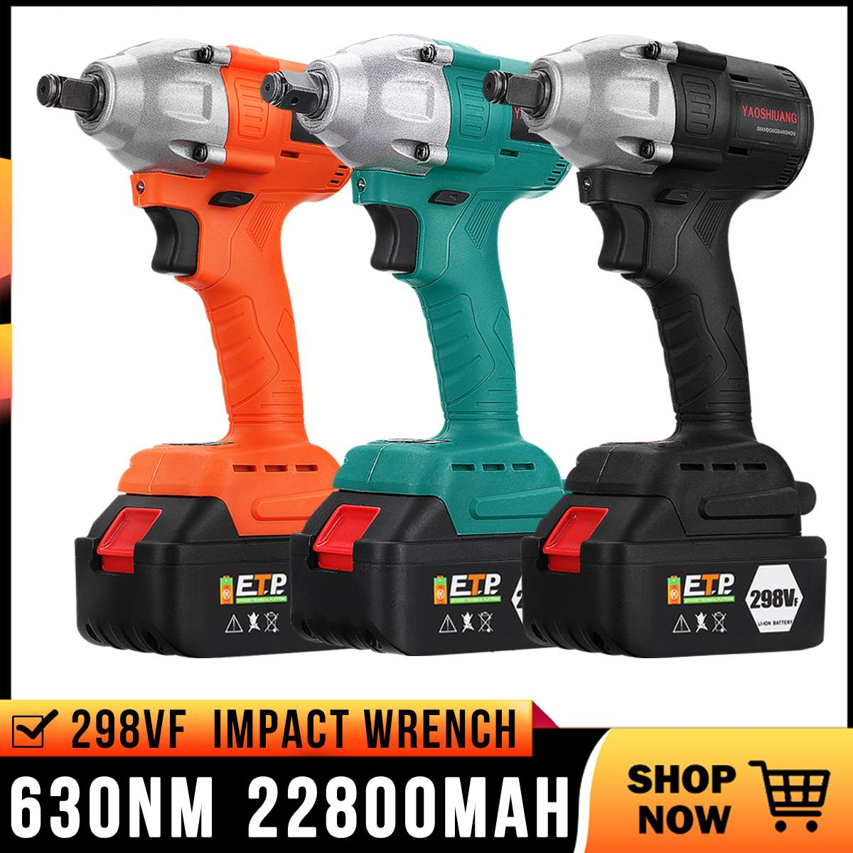 Doersupp Brushless Electric Wrench 110-240V 298VF 630NM 22800mAh Brushless Cordless Impact Wrench Power Tool with Battery