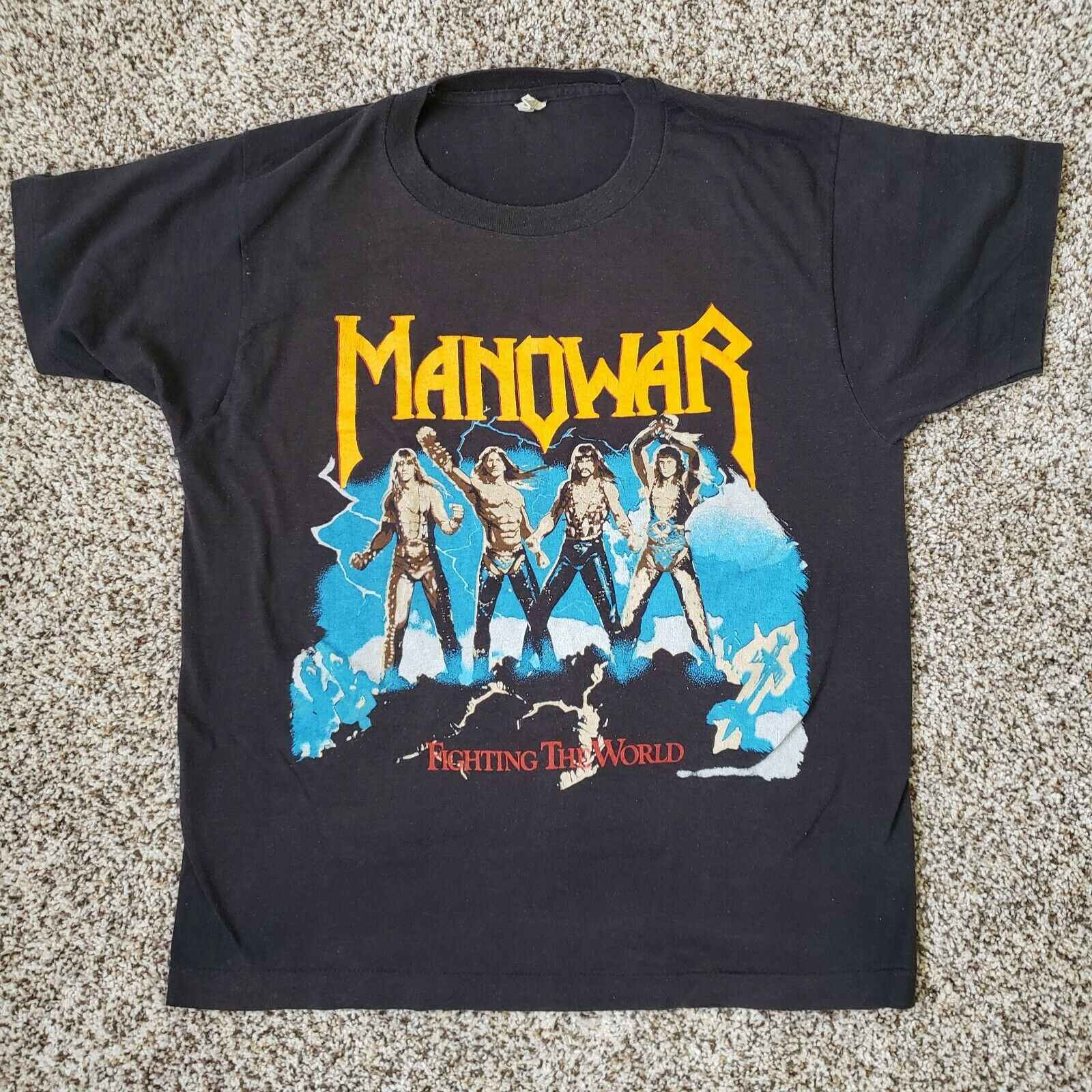 Vintage Manowar Fighting The World Tour 1987 88 Concert T shirt Med w/ tic stub 100% Cotton For Man Shirts