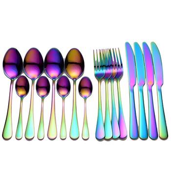 Tablewellware Stainless Steel Cutlery Set Rainbow Tableware Home Kitchen Fork Spoon Knife Spoon Set Dinnerware Set Dropshipping