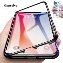 Luxury Magnetic Adsorption Phone Case For iPhone X Xs Max Xr 8 7 6 S 6S Plus Metal Magnet Absorption Tempered Glass Cover Coque