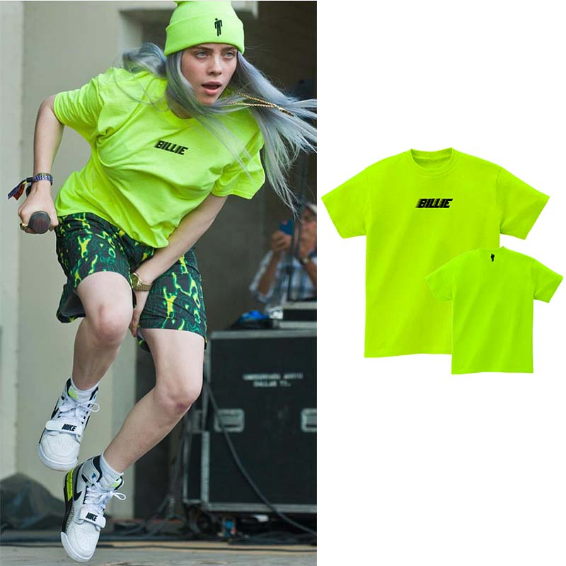 billy ilish t shirt yellow neon green black letter streetwear Same paragraph cotton 2019 summer new high quality