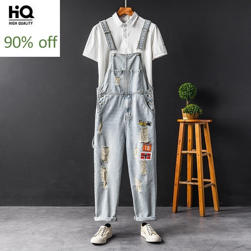 Summer New Brand Fashion Hole Ripped Mens Denim Jumpsuits Casual Pockets Patchs Loose Sleeveless Suspender Male Cargo Overalls