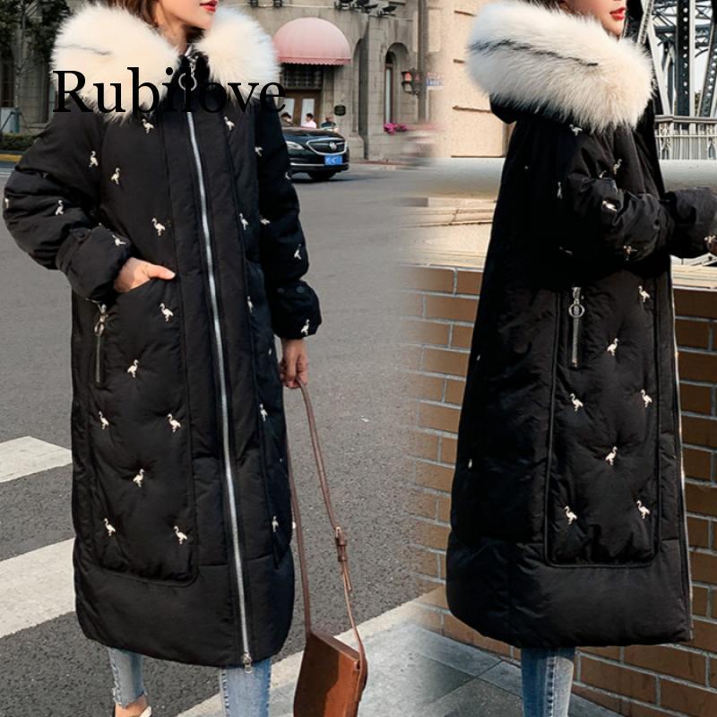 Rubilove Winter Coat Women Long   Parkas   Embroidery Fur Collar Hooded Thicken Warm Jackets Women Outerwear Overcoat Female Jacket