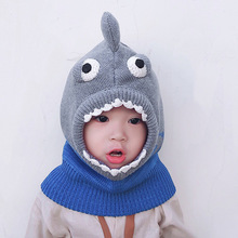 High Quality Baby Hat Winter Cartoon Shark Shape Boys and Girls Cap Knitted Wind-proof Keep Warm