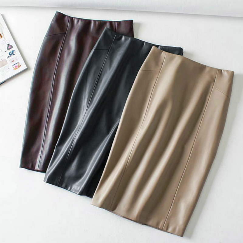 Women <font><b>Sexy</b></font> Soft PU Leather Pencil Midi Skirt Autumn Ladies Package <font><b>Hip</b></font> Back Split Faux Leather Pencil Skirt Burgundy Coffee image