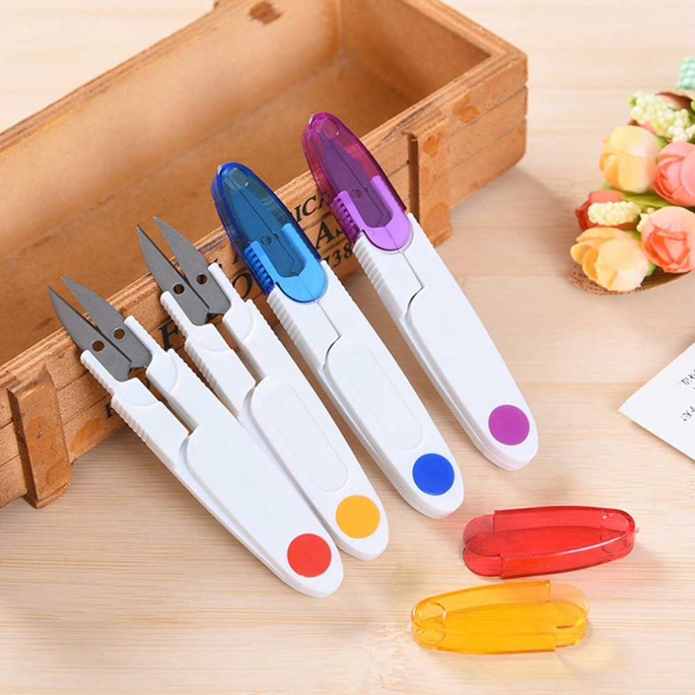 DIY Sewing Scissor Stainless Steel Plastic Cross Stitch Fishing Line Tailor's Embroidery Scissors Cutter With Cap Sewing Tools