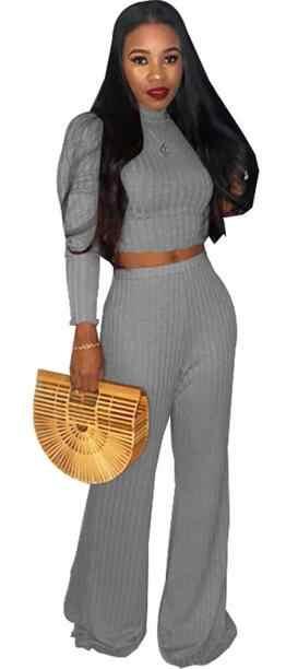 Трикотажные Ребристые комплекты из двух предметов, женские осенние водолазки с длинным рукавом, вязаные топы и широкие штаны, готические комплекты свитеров DC225