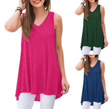 Fast Delivery Summer Women's Top Summer Sleeveless V-neck Tunic Tops Blouses Clothes Ropa Mujer Haut Femme Harajuku Tank Tops