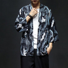Yukata Kimono Obi samouraï grue Style japonais Haori Robes hommes Cardigan chinois Dragon Blouse vestes vêtements asiatiques traditionnels