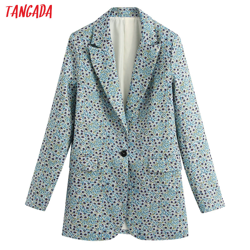 Tangada Women Vintage Blue Floral Print Blazer Female Long Sleeve Elegant Jacket Ladies Work Wear Blazer Formal Suits BE220