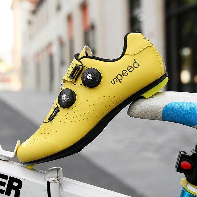 2020 nova estrada borracha-sola sapatos de ciclismo ultra-leve antiderrapante profissional auto-bloqueio sapatos esportes ao ar livre efeito fluorescente 5