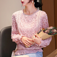 Fall 2019 New Lace Top Korean Round Neck Lace Chiffon Shirt Long Sleeve Women Tops Vadim Autumn Womens Clothing Blusas 872A6