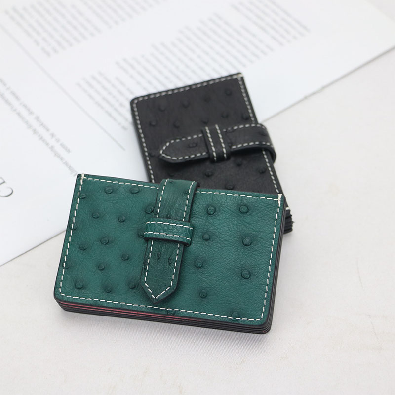 Luxury Genuine Ostrich Skin Leather Accordion Card Holder Multi Pockets Business Card Case Ostrich Leather Credit Card Holder