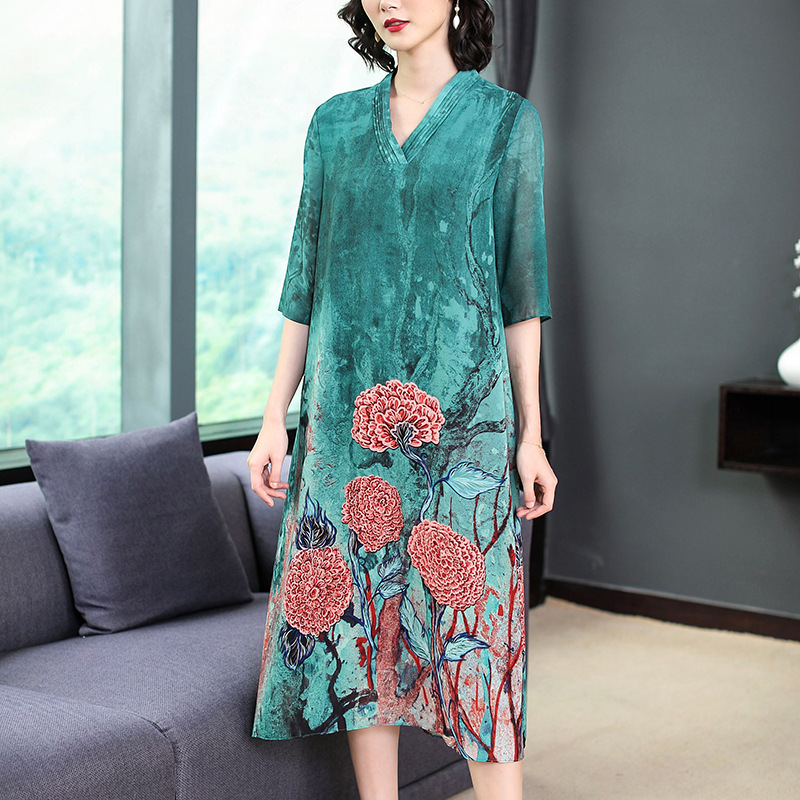 2019 Spring Clothing New Style Dress Women's Printed Chiffon Half-sleeve Shirt Skirt High-End Fashion Elegant Mid-length Long Sk