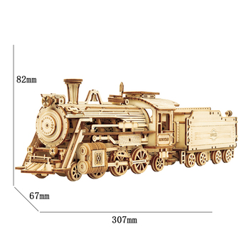 Robotime ROKR Train Model 3D Wooden Puzzle Toy Assembly Locomotive Model Building Kits for Children Kids Birthday Gift 2