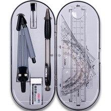 8 pcs/set Protractor Drawing Triangle Eraser Compasses Set Math Eraser Ruler For Students School Supplies