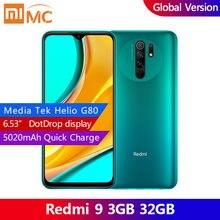 Versão global xiaomi redmi 9 3g 32gb smartphone 6.53 fexibição fhd 13mp quad câmera helio g80 octa núcleo 5020mah ai rosto desbloquear
