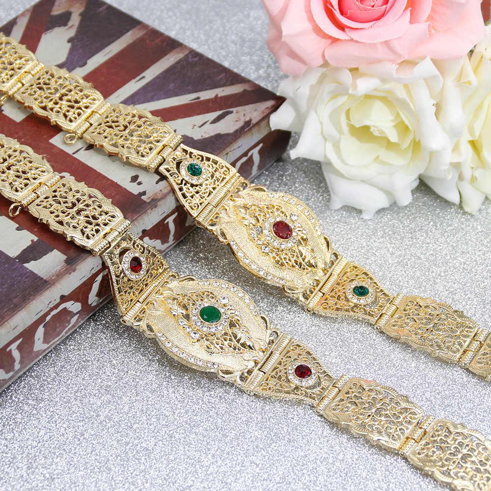 SUNSPICE-MS ファッションヨーロッパの結婚式ベルトボディ女性のゴールドマルチカラークリスタルウエスト調節可能な長さ