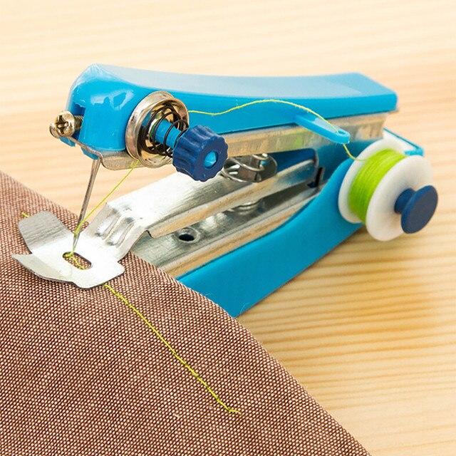 Mini máquina de coser Manual portátil funcionamiento Simple herramientas de coser tela de coser herramienta de aguja de coser