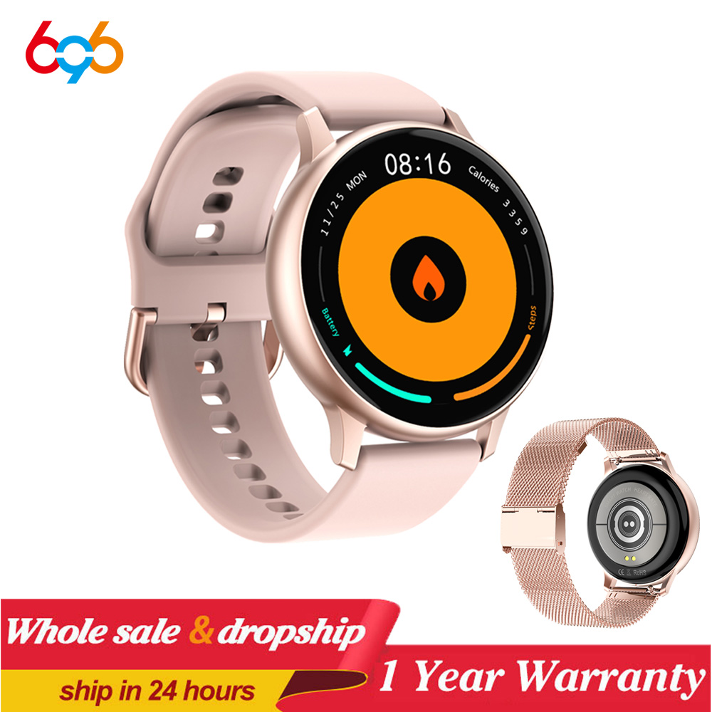 696 Women SmartWatch 1.3 inch Full Round Full Touch Wristband Heart Rate Sports men Smart Watch Waterproof Fitness DT88 PRO Band