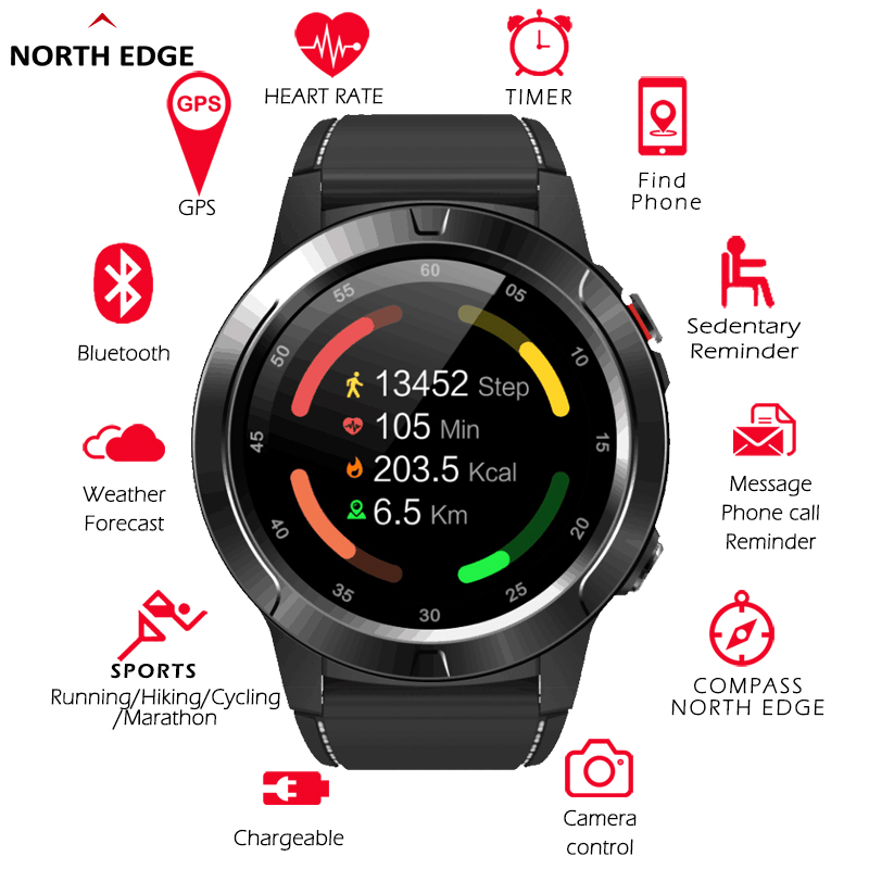 NORTH EDGE Men Sports GPS Watch Altimeter Barometer Thermometer Compass Heart Rate Monitor Pedometer Digital Climbing Watch