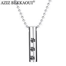 Aziz bekkaoui grava nome tubo forma cremação urna pingente de aço inoxidável cilindro pata pet lembrança memorial cinzas colar