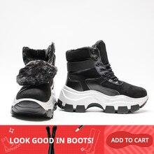 Fujin Frauen Stiefel Plattform 2020 Neue Winter Plüsch Fell Schuhe Retro Weibliche Atmungsaktive Stiefel Weibliche Warme Schnee Stiefel Sneaker Booties