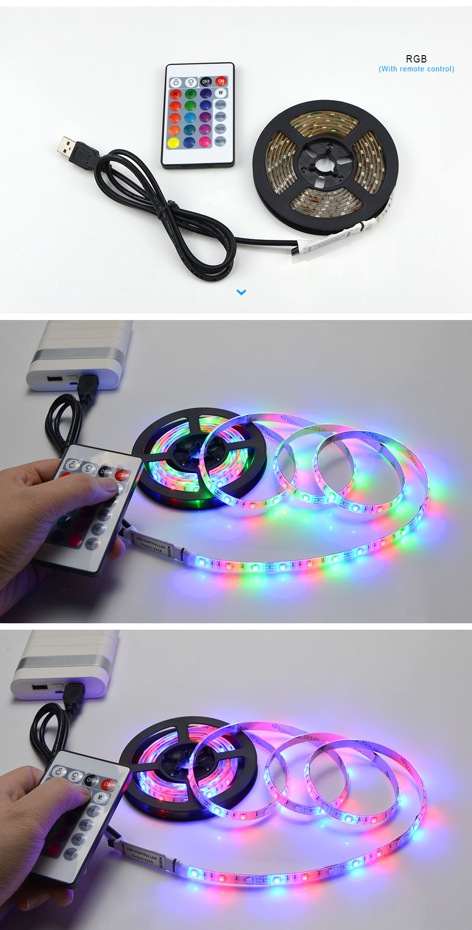 Ha7de27ffd96a45118e9d4ff254e1a633e 50CM 1M 2M 3M 4M 5M LED TV light 2835SMD RGB LED strip Light For tv HDTV Neon Light Backlight lamp with 24 key Remote control