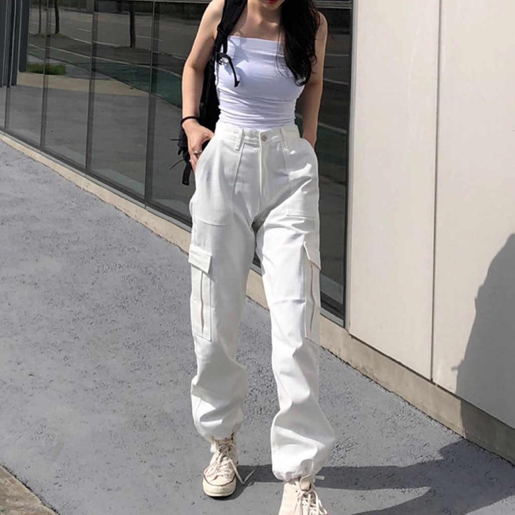 Pantalones Cargo Con Bolsillos Grandes Para Mujer Pantalones Sueltos De Cintura Alta Color Solido Rosa Negro Y Blanco Deportivos G3 Pantalones Y Pantalones Capri Aliexpress