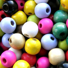 100pcs 12mm Round Spacer DIY Ball Beads Wooden Colorful Charms Jewelry Making