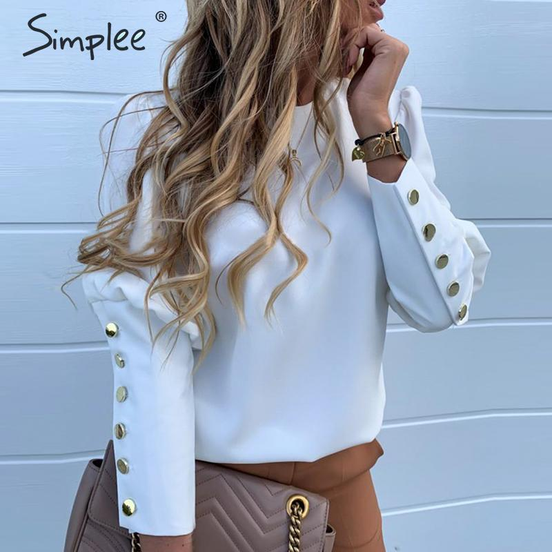 Simplee Vintage Solid White Button Women Club Blouses Shirts Spring Summer Elegant Blouses Shirts Casual Work Wear Blusas Mujer