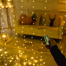 3Mx3M 300 LED Curtain Lights Romantic Christmas Wedding Decoration Outdoor Icicle String Light Remote-control 8 Modes USB Lamp