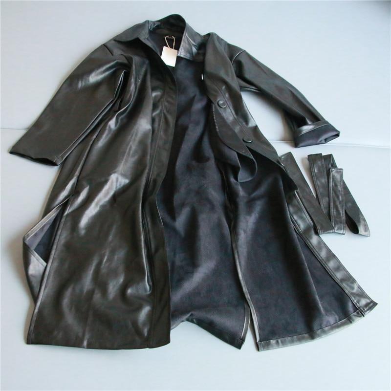 Velvet Trench Coat for Wome Large Size Autumn Women Loose Belt PU Leather Coats Windbreake Coat Slim Spring Long Coat NS939b
