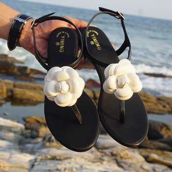 цены Bohemian summer women's floral flat sandals resort beach flip-flops simple beach flats